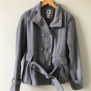 579 Gray Wool Blend Double Breasted Pea Coat XS